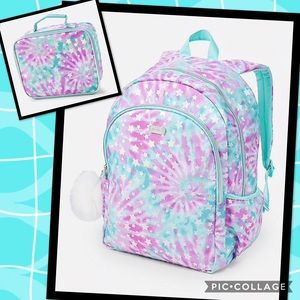 💕NWT Justice Star Tie Dye Backpack & Lunchbox set